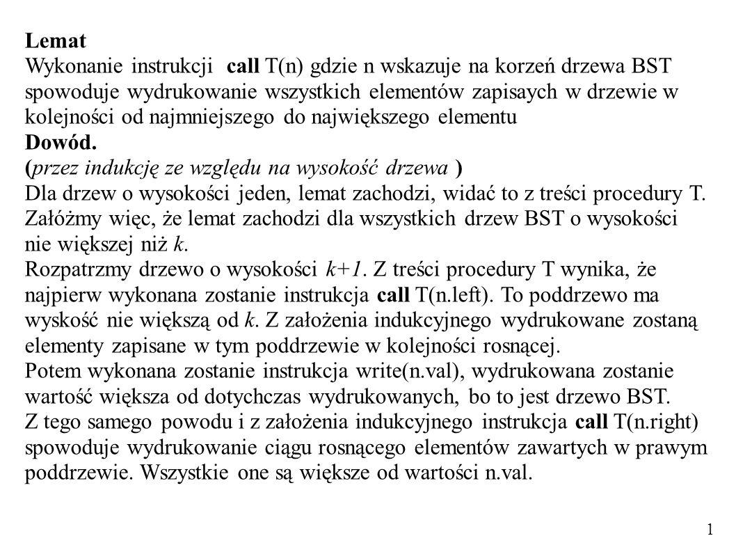 Lemat Wykonanie instrukcji call T(n) gdzie n wskazuje na korzeń drzewa BST spowoduje wydrukowanie wszystkich elementów zapisaych w drzewie w kolejności od najmniejszego do największego elementu Dowód.