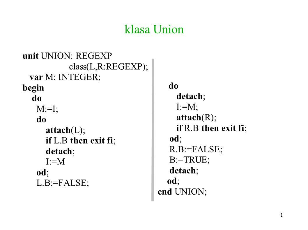 klasa Union unit UNION: REGEXP class(L,R:REGEXP); var M: INTEGER; begin do M:=I; do attach(L); if L.B then exit fi; detach; I:=M od; L.B:=FALSE; do detach; I:=M; attach(R); if R.B then exit fi; od; R.B:=FALSE; B:=TRUE; detach; od; end UNION; 1