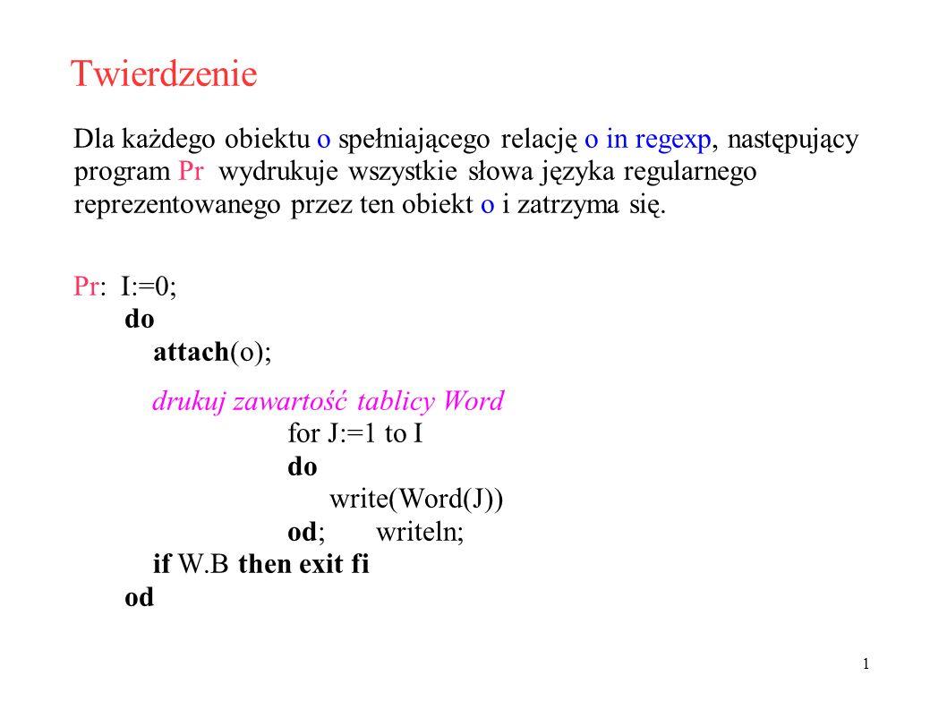 Twierdzenie Dla każdego obiektu o spełniającego relację o in regexp, następujący program Pr wydrukuje wszystkie słowa języka regularnego reprezentowanego przez ten obiekt o i zatrzyma się.