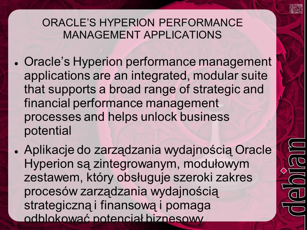 ORACLE'S HYPERION PERFORMANCE MANAGEMENT APPLICATIONS Oracle's Hyperion performance management applications are an integrated, modular suite that supports a broad range of strategic and financial performance management processes and helps unlock business potential Aplikacje do zarządzania wydajnością Oracle Hyperion są zintegrowanym, modułowym zestawem, który obsługuje szeroki zakres procesów zarządzania wydajnością strategiczną i finansową i pomaga odblokować potencjał biznesowy