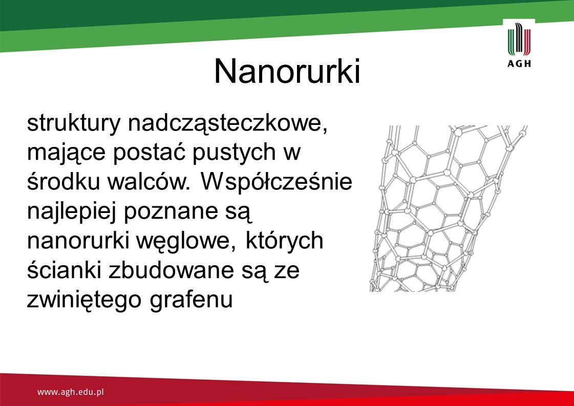 Nanorurki struktury nadcząsteczkowe, mające postać pustych w środku walców. Współcześnie najlepiej poznane są nanorurki węglowe, których ścianki zbudo