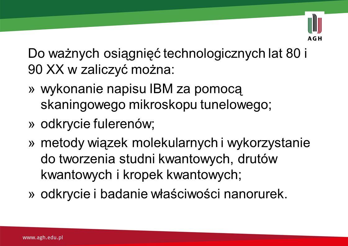 Do ważnych osiągnięć technologicznych lat 80 i 90 XX w zaliczyć można: »wykonanie napisu IBM za pomocą skaningowego mikroskopu tunelowego; »odkrycie f