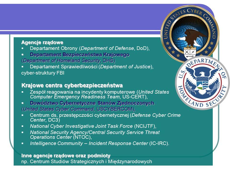 Agencje rządowe  Departament Obrony (Department of Defense, DoD),  Departament Bezpieczeństwa Krajowego (Department of Homeland Security, DHS)  Departament Sprawiedliwości (Department of Justice), cyber-struktury FBI Krajowe centra cyberbezpieczeństwa  Zespół reagowania na incydenty komputerowe (United States Computer Emergency Readiness Team, US-CERT),  Dowództwo Cybernetyczne Stanów Zjednoczonych (United States Cyber Command, USCYBERCOM),  Centrum ds.