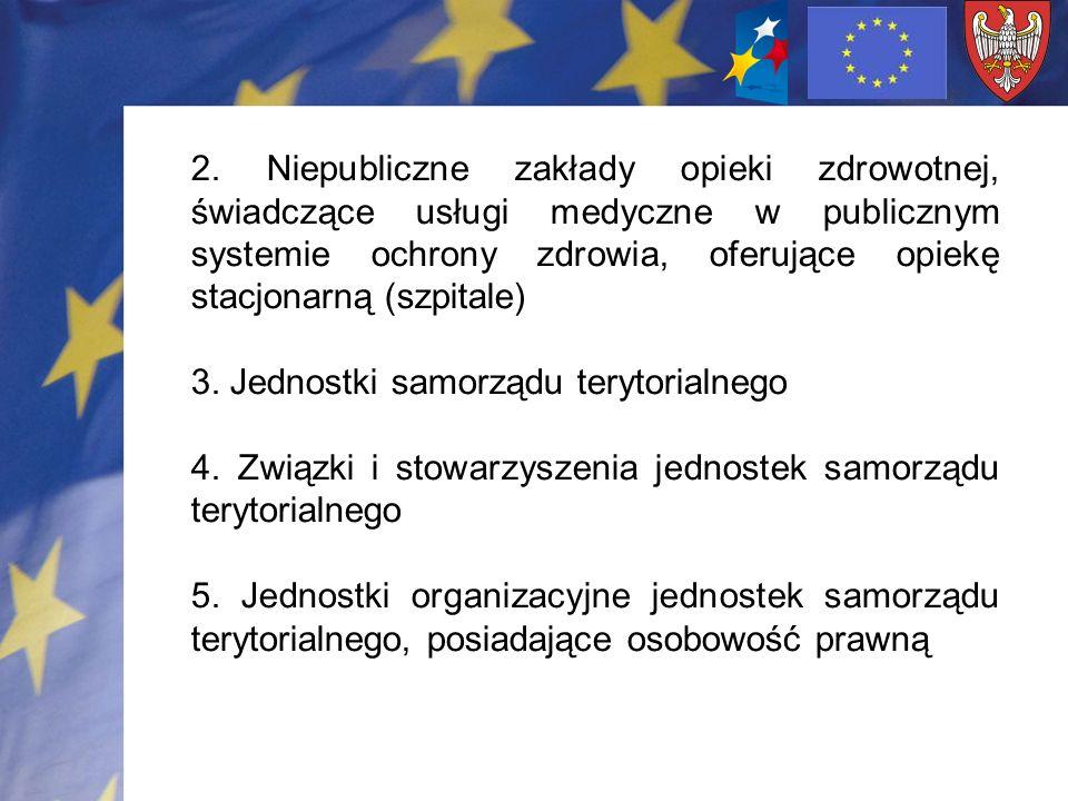 2. Niepubliczne zakłady opieki zdrowotnej, świadczące usługi medyczne w publicznym systemie ochrony zdrowia, oferujące opiekę stacjonarną (szpitale) 3