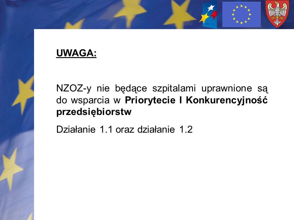 UWAGA: NZOZ-y nie będące szpitalami uprawnione są do wsparcia w Priorytecie I Konkurencyjność przedsiębiorstw Działanie 1.1 oraz działanie 1.2