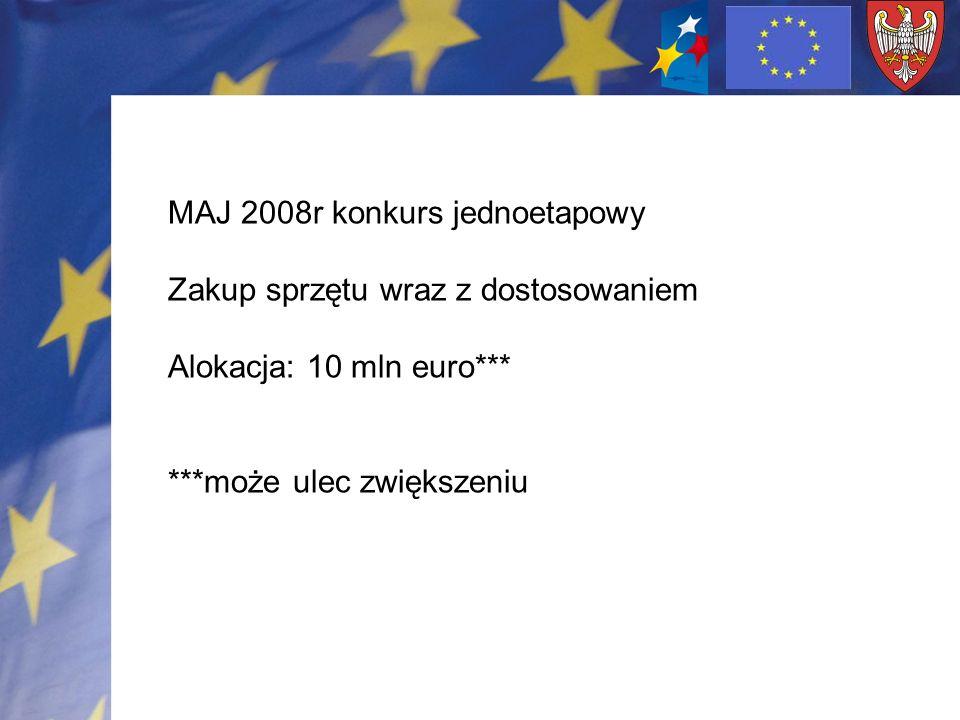 MAJ 2008r konkurs jednoetapowy Zakup sprzętu wraz z dostosowaniem Alokacja: 10 mln euro*** ***może ulec zwiększeniu