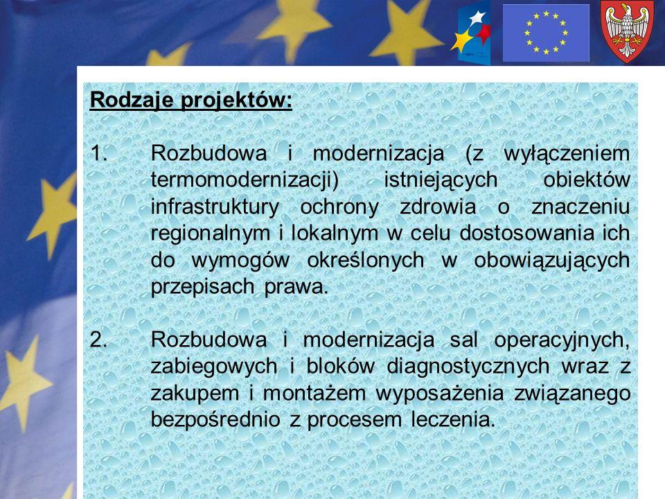Rodzaje projektów: 1.Rozbudowa i modernizacja (z wyłączeniem termomodernizacji) istniejących obiektów infrastruktury ochrony zdrowia o znaczeniu regionalnym i lokalnym w celu dostosowania ich do wymogów określonych w obowiązujących przepisach prawa.