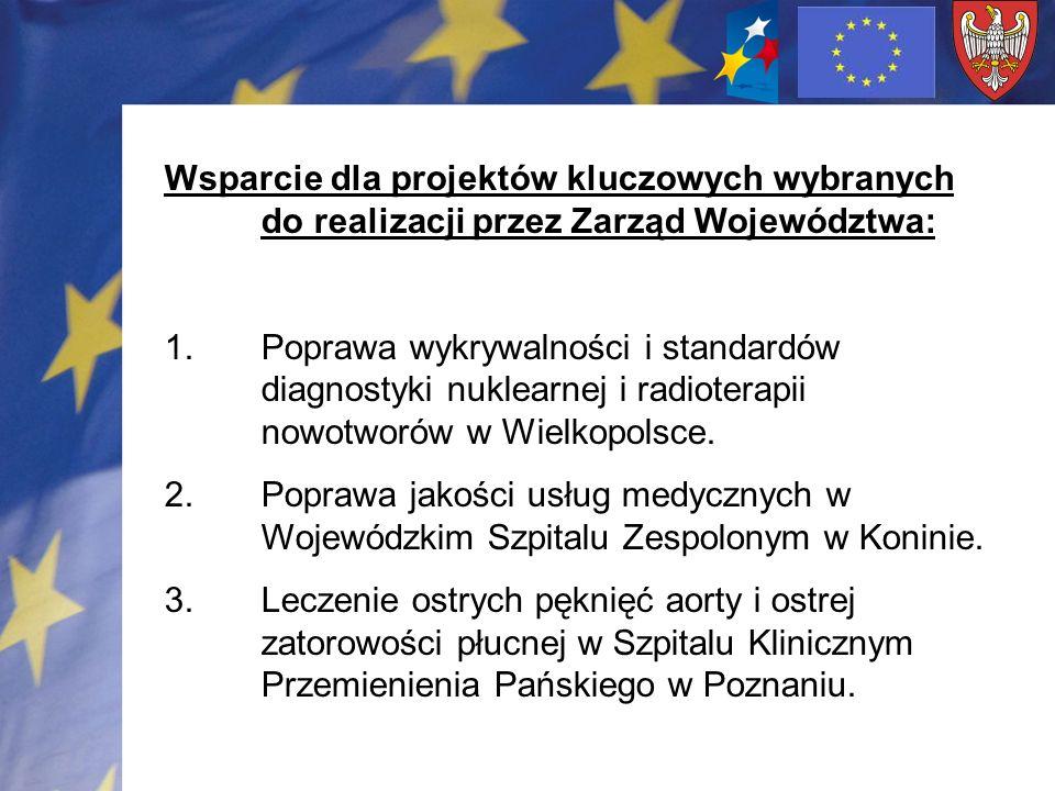 Wsparcie dla projektów kluczowych wybranych do realizacji przez Zarząd Województwa: 1.Poprawa wykrywalności i standardów diagnostyki nuklearnej i radioterapii nowotworów w Wielkopolsce.