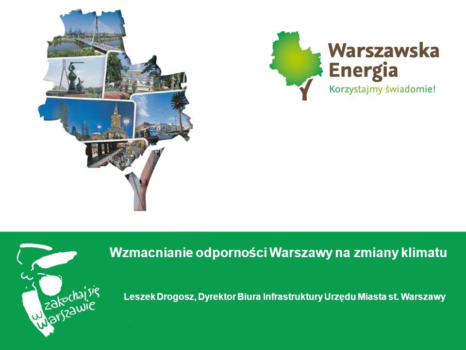 Wzmacnianie odporności Warszawy na zmiany klimatu Leszek Drogosz, Dyrektor Biura Infrastruktury Urzędu Miasta st.
