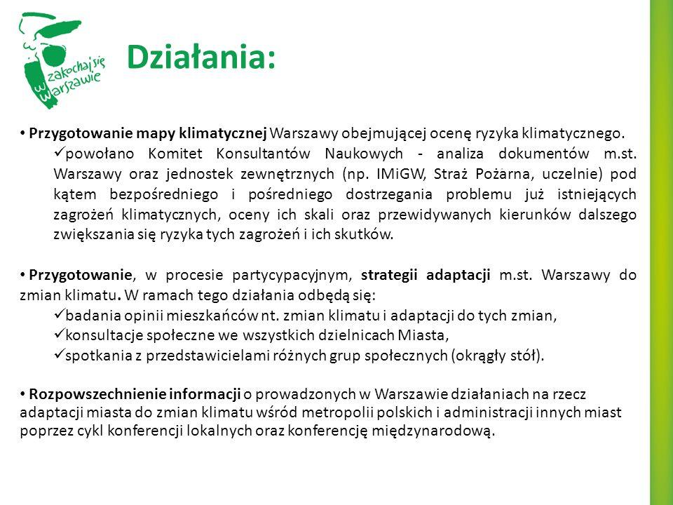 Działania: Przygotowanie mapy klimatycznej Warszawy obejmującej ocenę ryzyka klimatycznego.