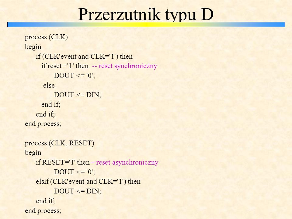 Przerzutnik typu D process (CLK) begin if (CLK event and CLK= 1 ) then if reset='1' then -- reset synchroniczny DOUT <= 0 ; else DOUT <= DIN; end if; end process; process (CLK, RESET) begin if RESET= 1 then – reset asynchroniczny DOUT <= 0 ; elsif (CLK event and CLK= 1 ) then DOUT <= DIN; end if; end process;