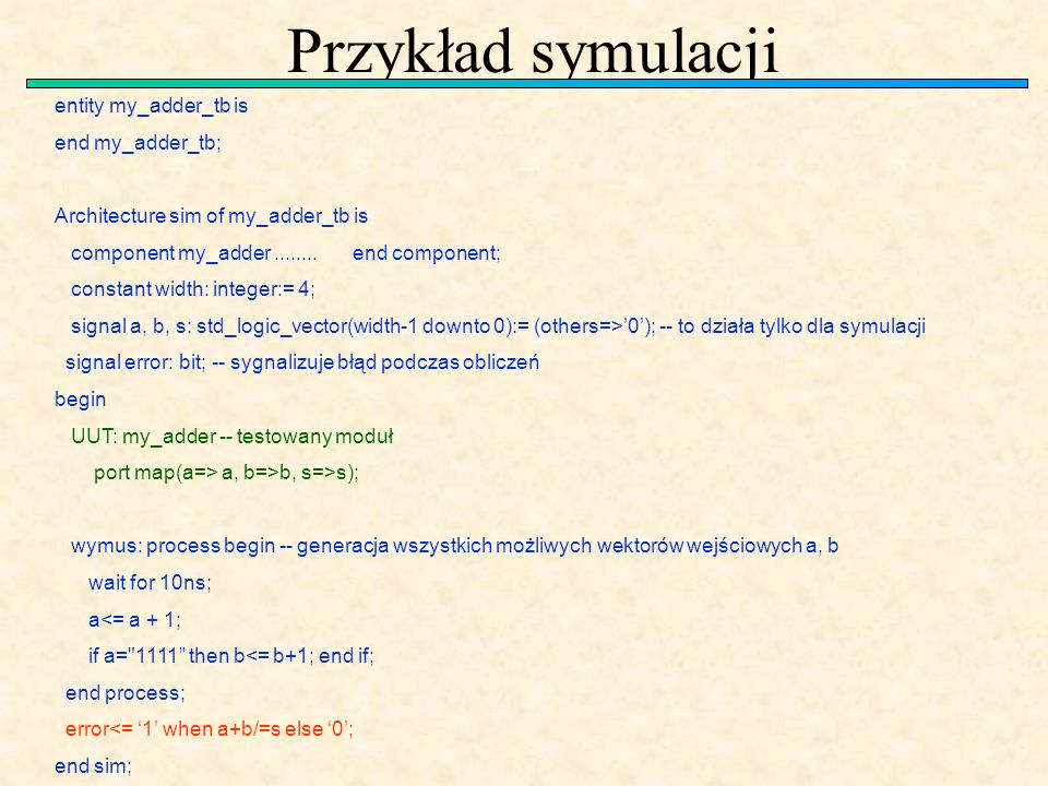 Przykład symulacji entity my_adder_tb is end my_adder_tb; Architecture sim of my_adder_tb is component my_adder........