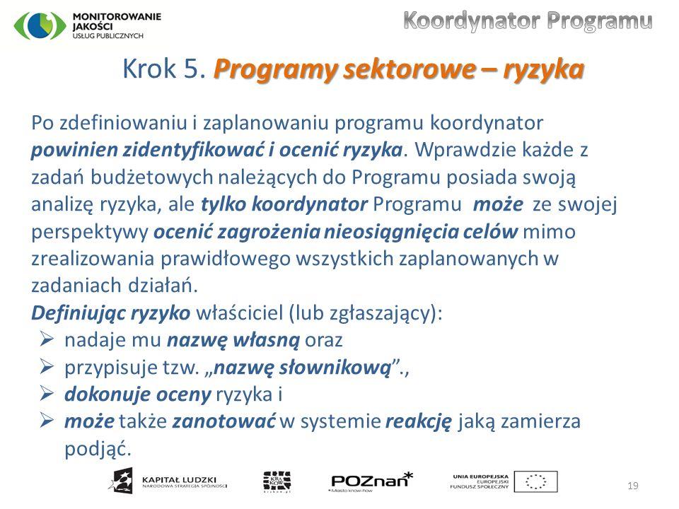 Programy sektorowe – ryzyka Krok 5.