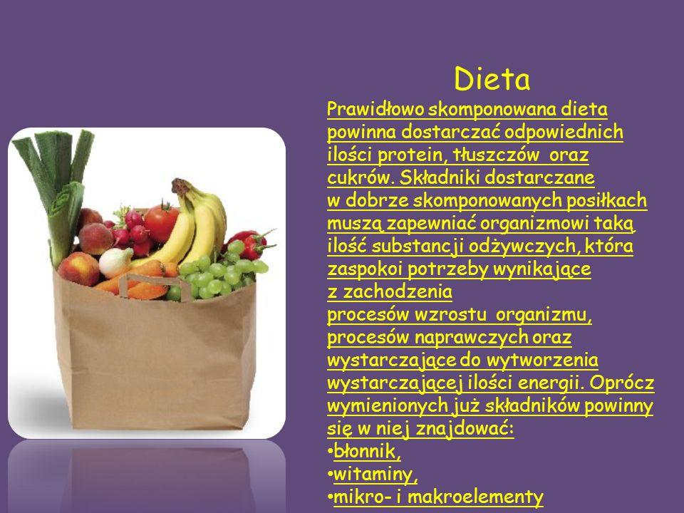 Dieta Prawidłowo skomponowana dieta powinna dostarczać odpowiednich ilości protein, tłuszczów oraz cukrów.