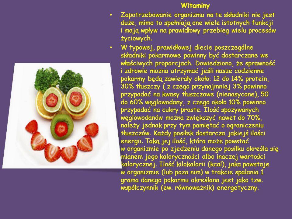 Witaminy Zapotrzebowanie organizmu na te składniki nie jest duże, mimo to spełniają one wiele istotnych funkcji i mają wpływ na prawidłowy przebieg wielu procesów życiowych.