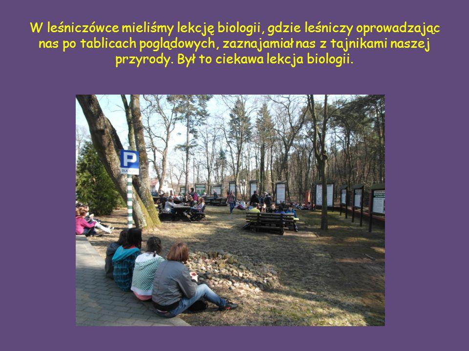 W leśniczówce mieliśmy lekcję biologii, gdzie leśniczy oprowadzając nas po tablicach poglądowych, zaznajamiał nas z tajnikami naszej przyrody.