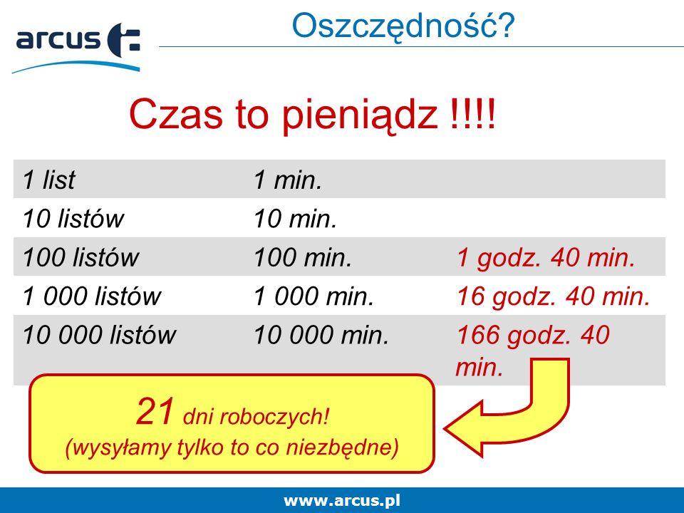 www.arcus.pl Czas to pieniądz !!!. 1 list1 min. 10 listów10 min.