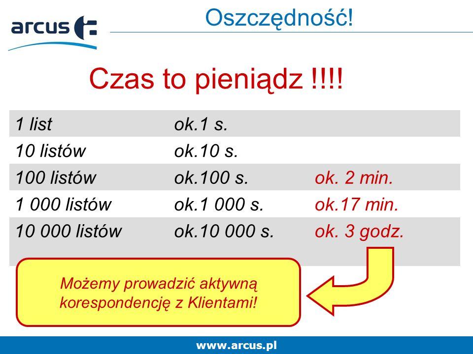 www.arcus.pl Czas to pieniądz !!!. 1 listok.1 s. 10 listówok.10 s.