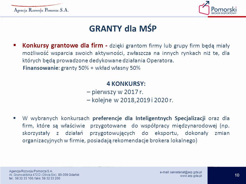 10 e-mail: sekretariat@arp.gda.pl www.arp.gda.pl Agencja Rozwoju Pomorza S.A.
