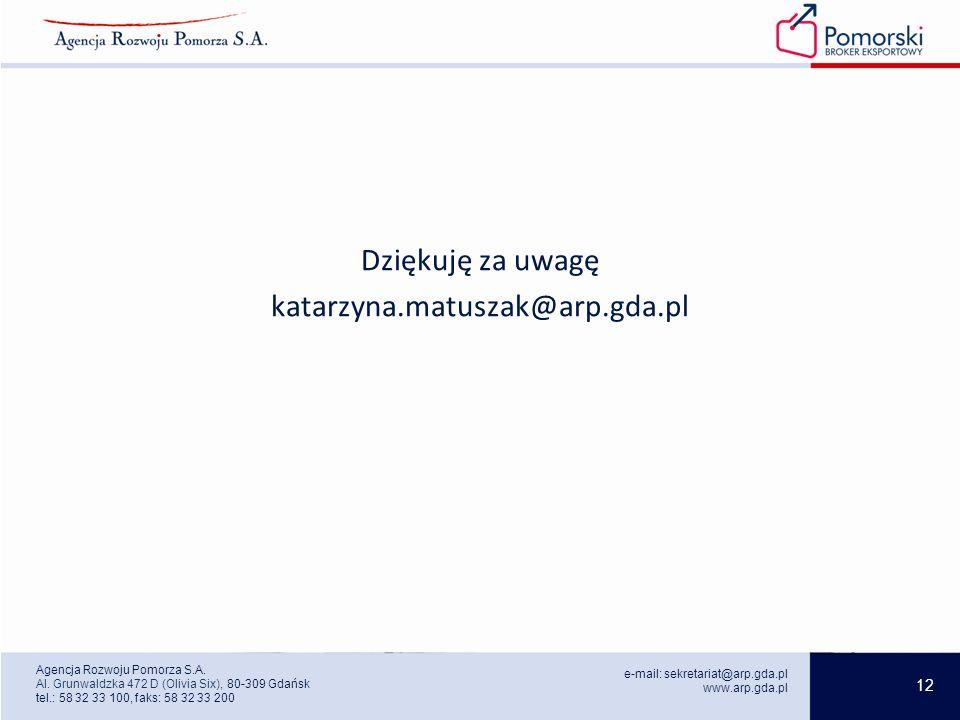 12 e-mail: sekretariat@arp.gda.pl www.arp.gda.pl Agencja Rozwoju Pomorza S.A.