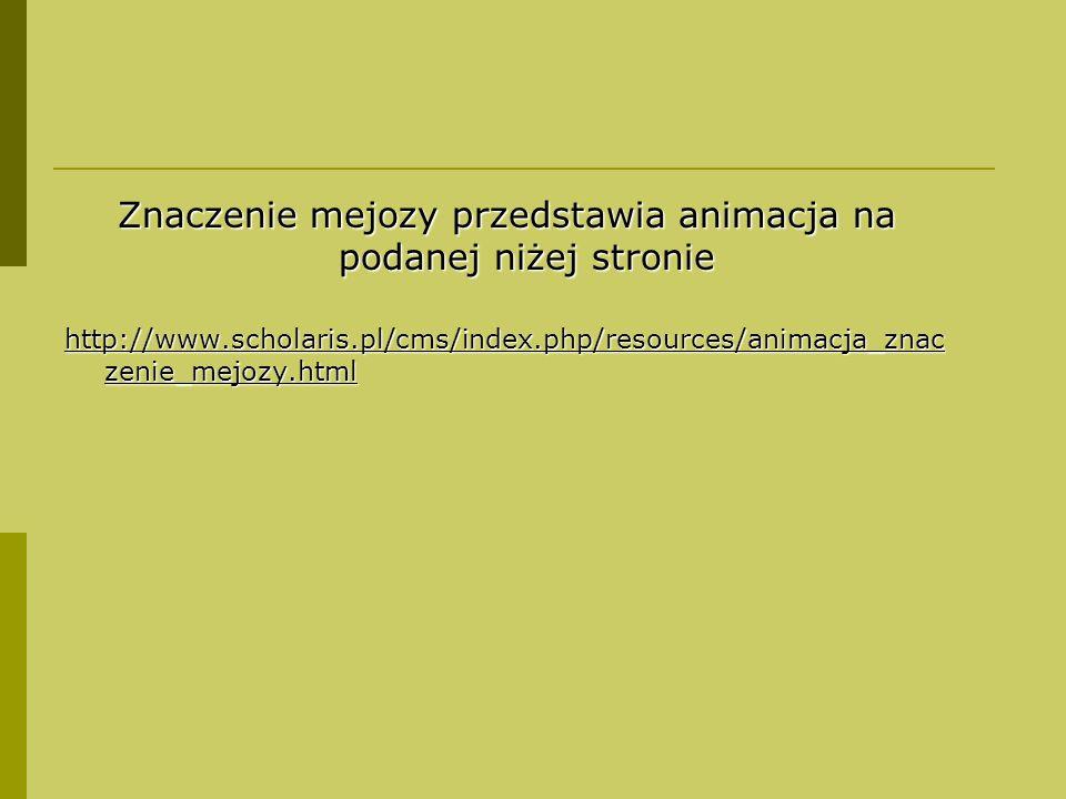 Znaczenie mejozy przedstawia animacja na podanej niżej stronie http://www.scholaris.pl/cms/index.php/resources/animacja_znac zenie_mejozy.html