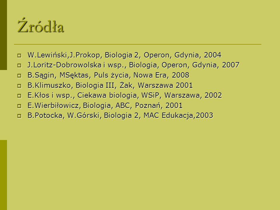Źródła  W.Lewiński,J.Prokop, Biologia 2, Operon, Gdynia, 2004  J.Loritz-Dobrowolska i wsp., Biologia, Operon, Gdynia, 2007  B.Sągin, MSęktas, Puls