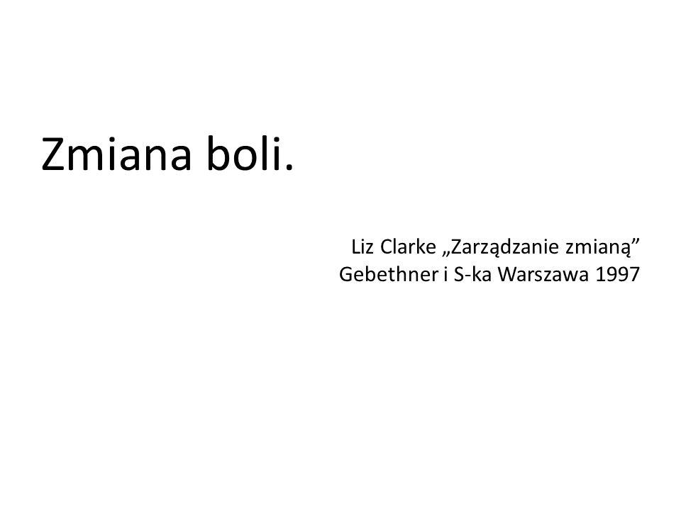 """Zmiana boli. Liz Clarke """"Zarządzanie zmianą Gebethner i S-ka Warszawa 1997"""