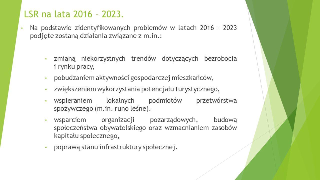 LSR na lata 2016 – 2023. Na podstawie zidentyfikowanych problemów w latach 2016 – 2023 podjęte zostaną działania związane z m.in.: zmianą niekorzystny