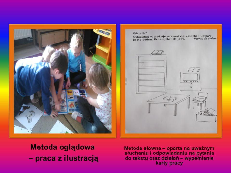Metoda oglądowa – praca z ilustracją Metoda słowna – oparta na uważnym słuchaniu i odpowiadaniu na pytania do tekstu oraz działań – wypełnianie karty