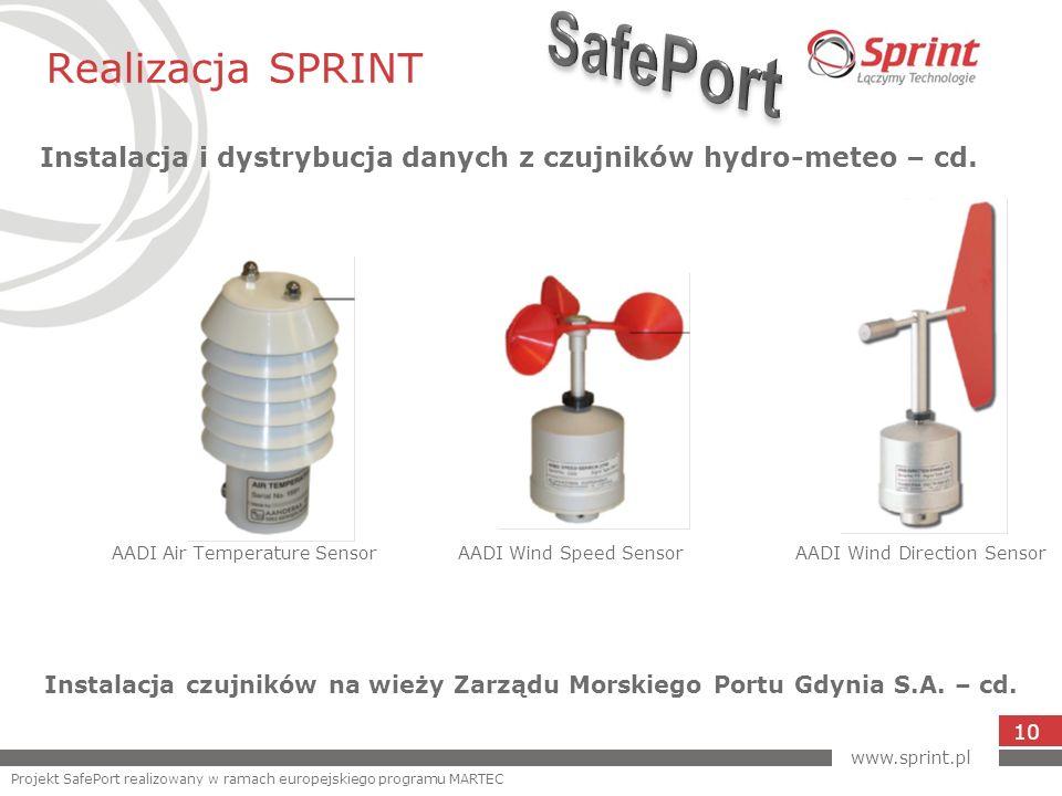 Realizacja SPRINT Instalacja i dystrybucja danych z czujników hydro-meteo – cd. 10 AADI Air Temperature Sensor AADI Wind Speed Sensor AADI Wind Direct