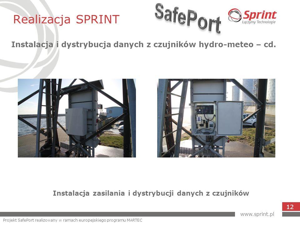 Realizacja SPRINT Instalacja i dystrybucja danych z czujników hydro-meteo – cd. 12 Instalacja zasilania i dystrybucji danych z czujników www.sprint.pl
