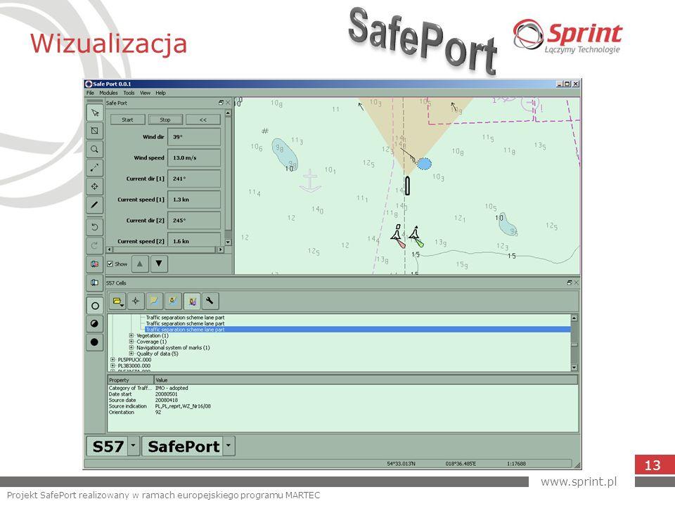 Wizualizacja 13 www.sprint.pl Projekt SafePort realizowany w ramach europejskiego programu MARTEC