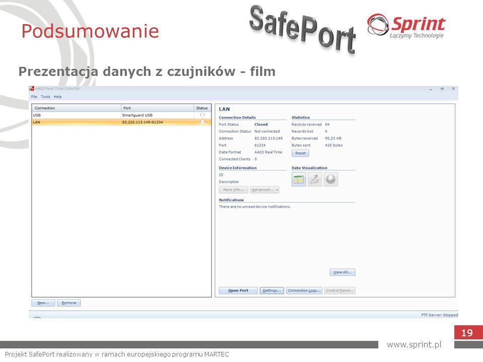 Podsumowanie Prezentacja danych z czujników - film 19 www.sprint.pl Projekt SafePort realizowany w ramach europejskiego programu MARTEC