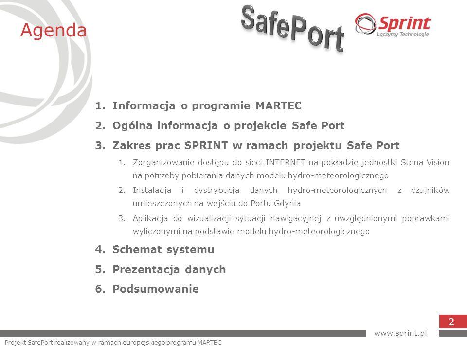 Agenda 2 1.Informacja o programie MARTEC 2.Ogólna informacja o projekcie Safe Port 3.Zakres prac SPRINT w ramach projektu Safe Port 1.Zorganizowanie d