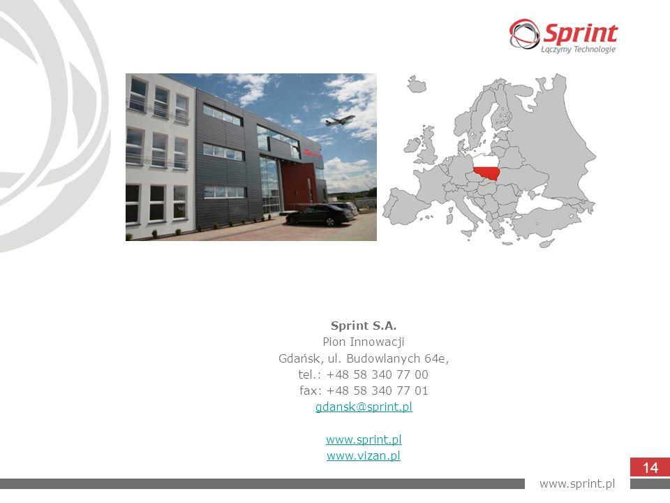 Sprint S.A. Pion Innowacji Gdańsk, ul. Budowlanych 64e, tel.: +48 58 340 77 00 fax: +48 58 340 77 01 gdansk@sprint.pl www.sprint.pl www.vizan.pl www.s