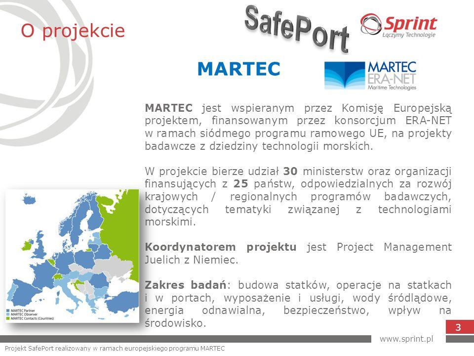 O projekcie 3 www.sprint.pl Projekt SafePort realizowany w ramach europejskiego programu MARTEC MARTEC MARTEC jest wspieranym przez Komisję Europejską