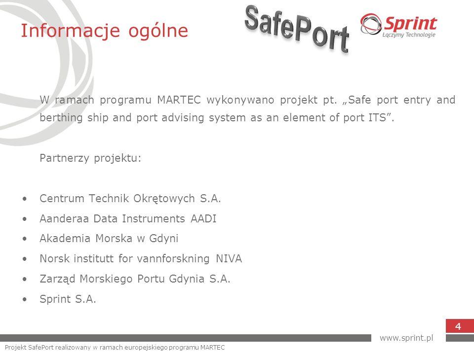 Prezentacja danych 15 www.sprint.pl Projekt SafePort realizowany w ramach europejskiego programu MARTEC
