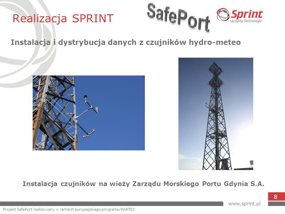 Realizacja SPRINT Instalacja i dystrybucja danych z czujników hydro-meteo 8 Instalacja czujników na wieży Zarządu Morskiego Portu Gdynia S.A. www.spri