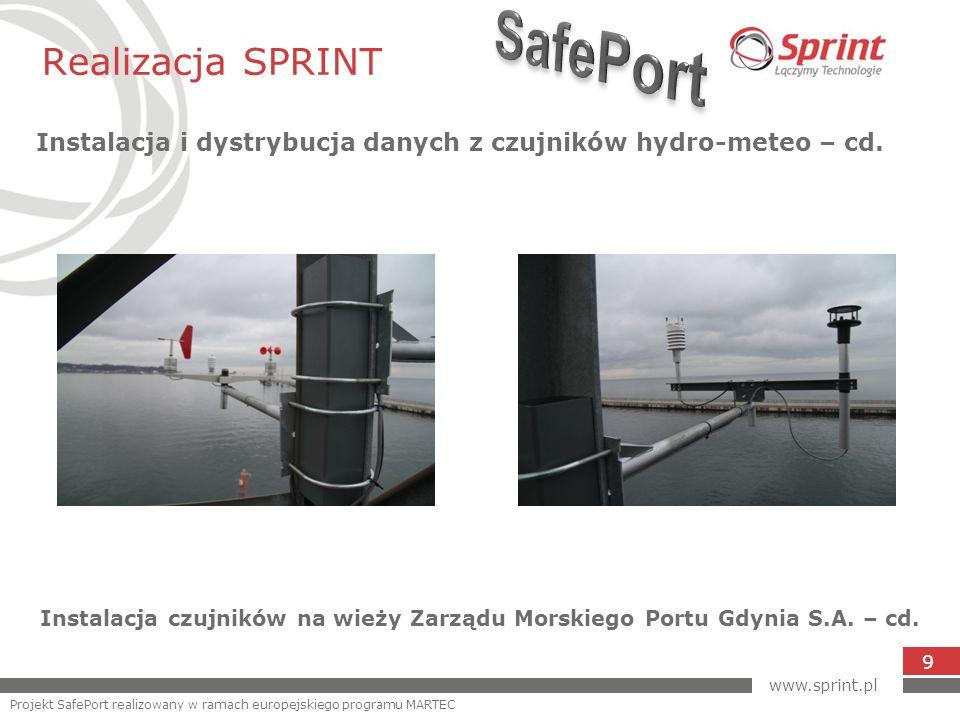 Realizacja SPRINT Instalacja i dystrybucja danych z czujników hydro-meteo – cd. 9 Instalacja czujników na wieży Zarządu Morskiego Portu Gdynia S.A. –