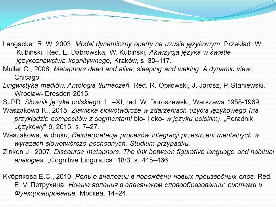 Langacker R. W, 2003, Model dynamiczny oparty na uzusie językowym.