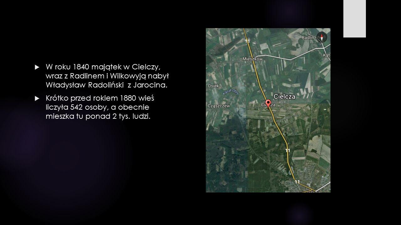  W roku 1840 majątek w Cielczy, wraz z Radlinem i Wilkowyją nabył Władysław Radoliński z Jarocina.  Krótko przed rokiem 1880 wieś liczyła 542 osoby,