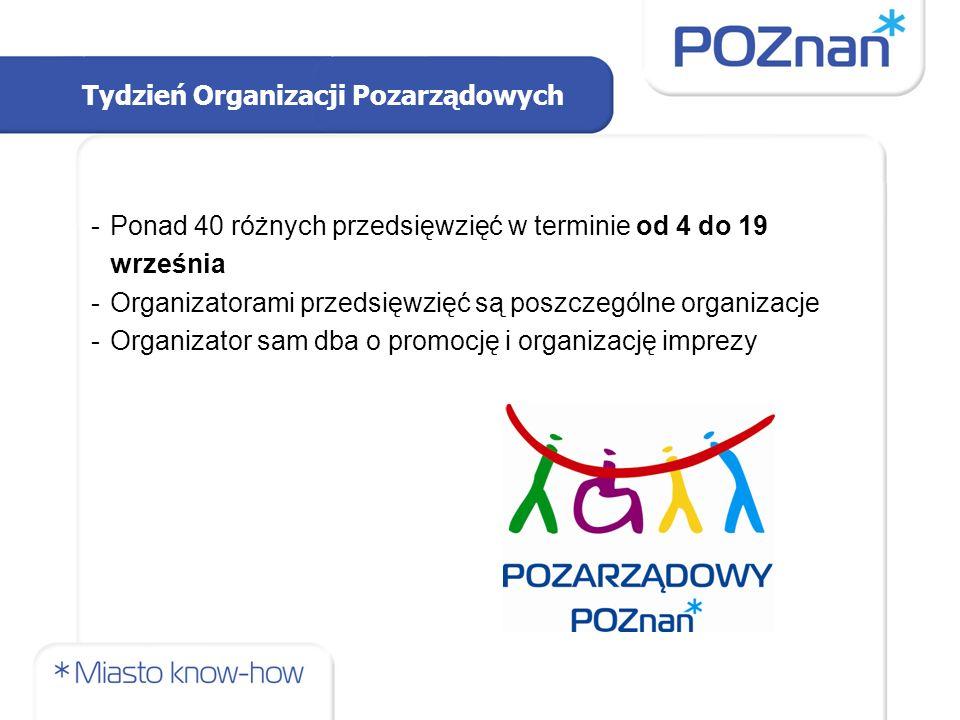 Tydzień Organizacji Pozarządowych -Ponad 40 różnych przedsięwzięć w terminie od 4 do 19 września -Organizatorami przedsięwzięć są poszczególne organizacje -Organizator sam dba o promocję i organizację imprezy