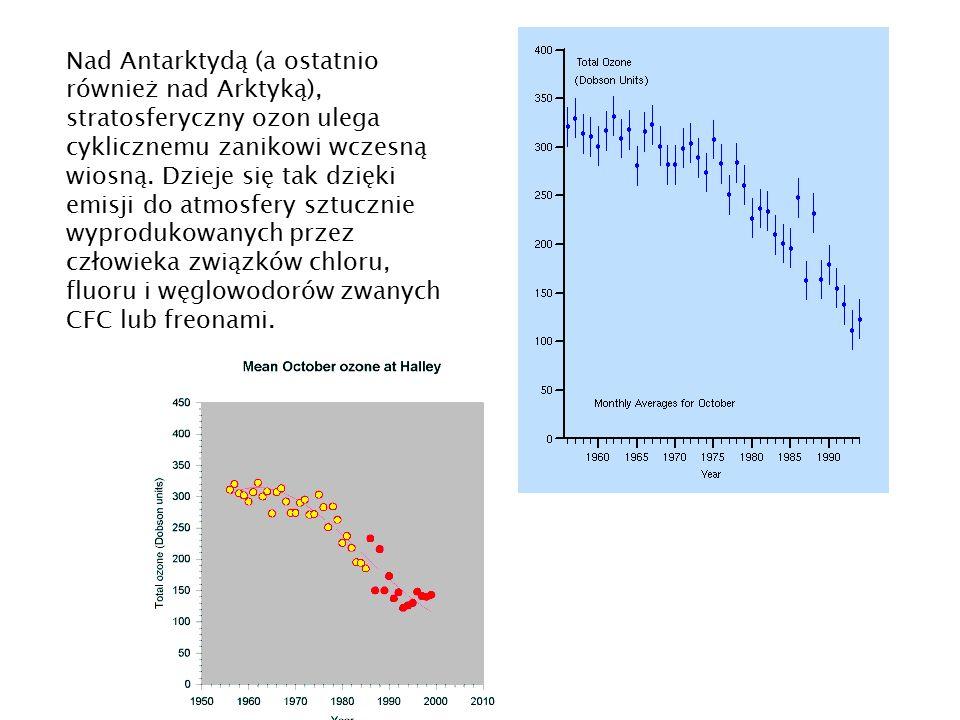 Nad Antarktydą (a ostatnio również nad Arktyką), stratosferyczny ozon ulega cyklicznemu zanikowi wczesną wiosną.