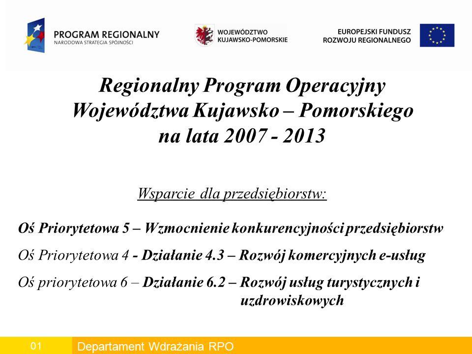 Departament Wdrażania RPO 01 Regionalny Program Operacyjny Województwa Kujawsko – Pomorskiego na lata 2007 - 2013 Wsparcie dla przedsiębiorstw: Oś Pri