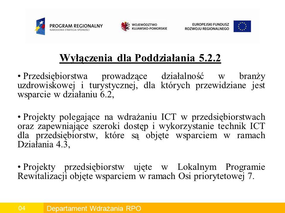Departament Wdrażania RPO 04 Wyłączenia dla Poddziałania 5.2.2 Przedsiębiorstwa prowadzące działalność w branży uzdrowiskowej i turystycznej, dla których przewidziane jest wsparcie w działaniu 6.2, Projekty polegające na wdrażaniu ICT w przedsiębiorstwach oraz zapewniające szeroki dostęp i wykorzystanie technik ICT dla przedsiębiorstw, które są objęte wsparciem w ramach Działania 4.3, Projekty przedsiębiorstw ujęte w Lokalnym Programie Rewitalizacji objęte wsparciem w ramach Osi priorytetowej 7.