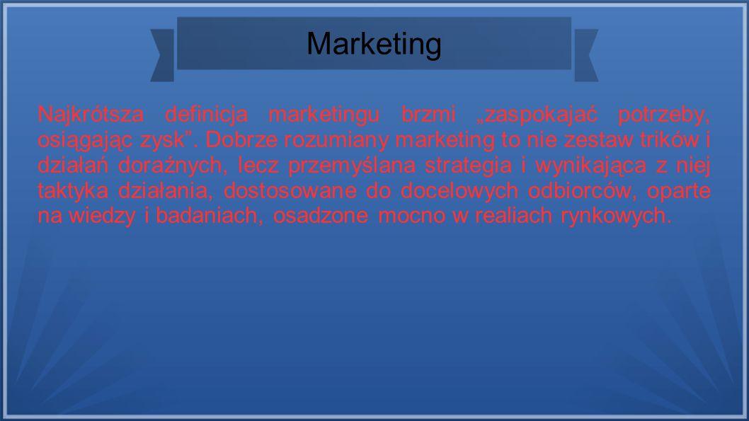 """Marketing Najkrótsza definicja marketingu brzmi """"zaspokajać potrzeby, osiągając zysk ."""