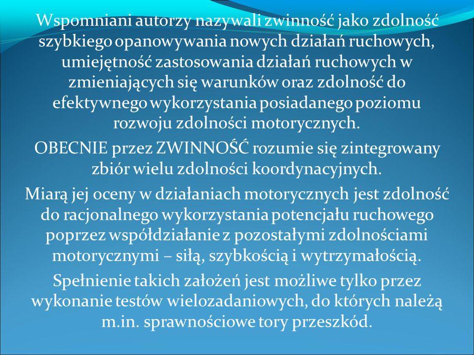 Cel badań (Haleczko i wspólni): Sprawnościowy tor przeszkód kwalifikujący do służby w policji, wprowadzony w styczniu 2006 roku,