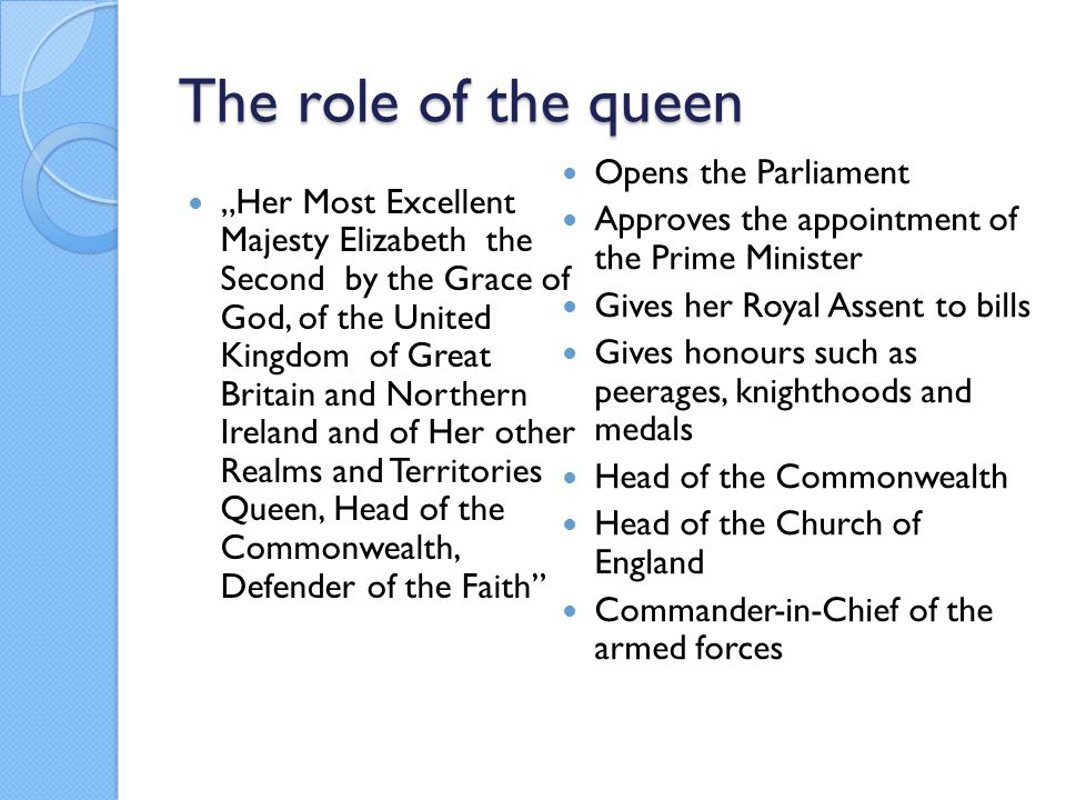 "The role of the queen ""Her Most Excellent Majesty Elizabeth the Second by the Grace of God, of the United Kingdom of Great Britain and Northern Irelan"