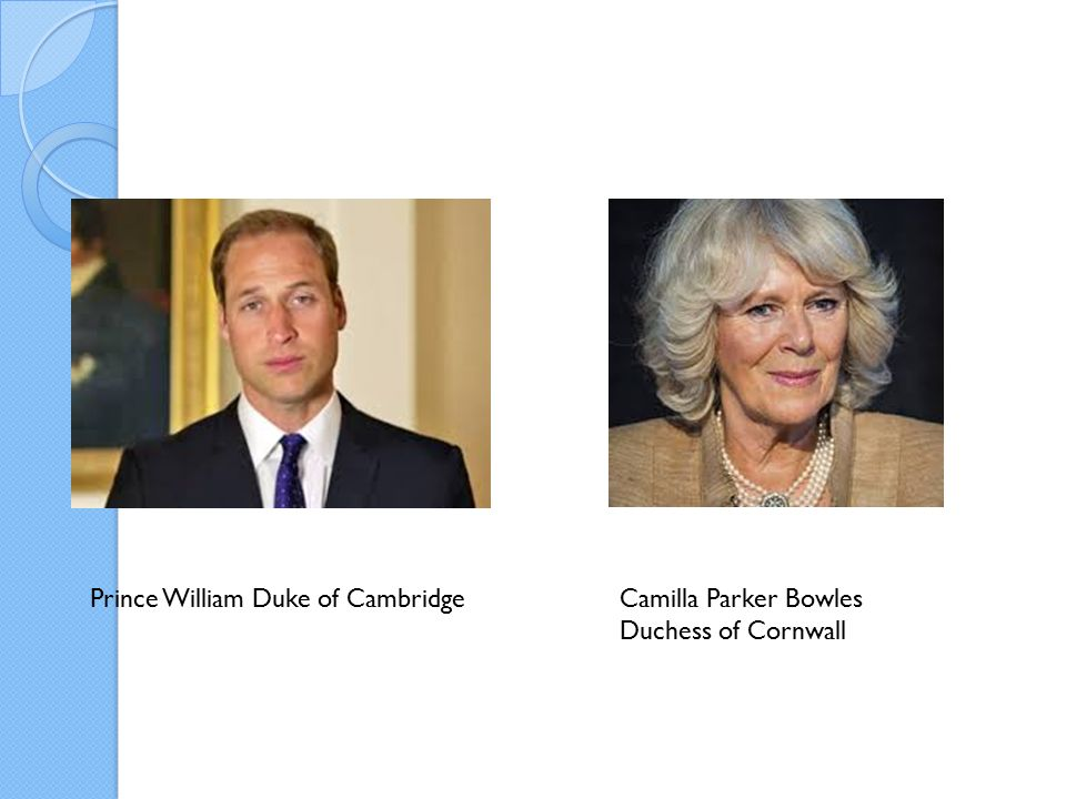 Prince William Duke of CambridgeCamilla Parker Bowles Duchess of Cornwall
