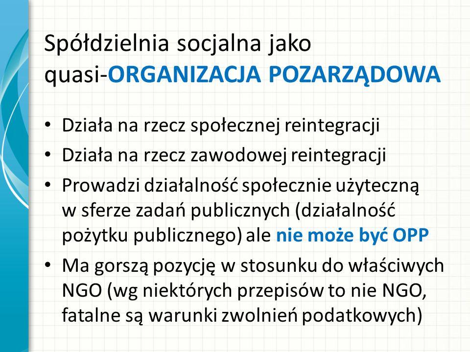 Spółdzielnia socjalna jako quasi-ORGANIZACJA POZARZĄDOWA Działa na rzecz społecznej reintegracji Działa na rzecz zawodowej reintegracji Prowadzi działalność społecznie użyteczną w sferze zadań publicznych (działalność pożytku publicznego) ale nie może być OPP Ma gorszą pozycję w stosunku do właściwych NGO (wg niektórych przepisów to nie NGO, fatalne są warunki zwolnień podatkowych)